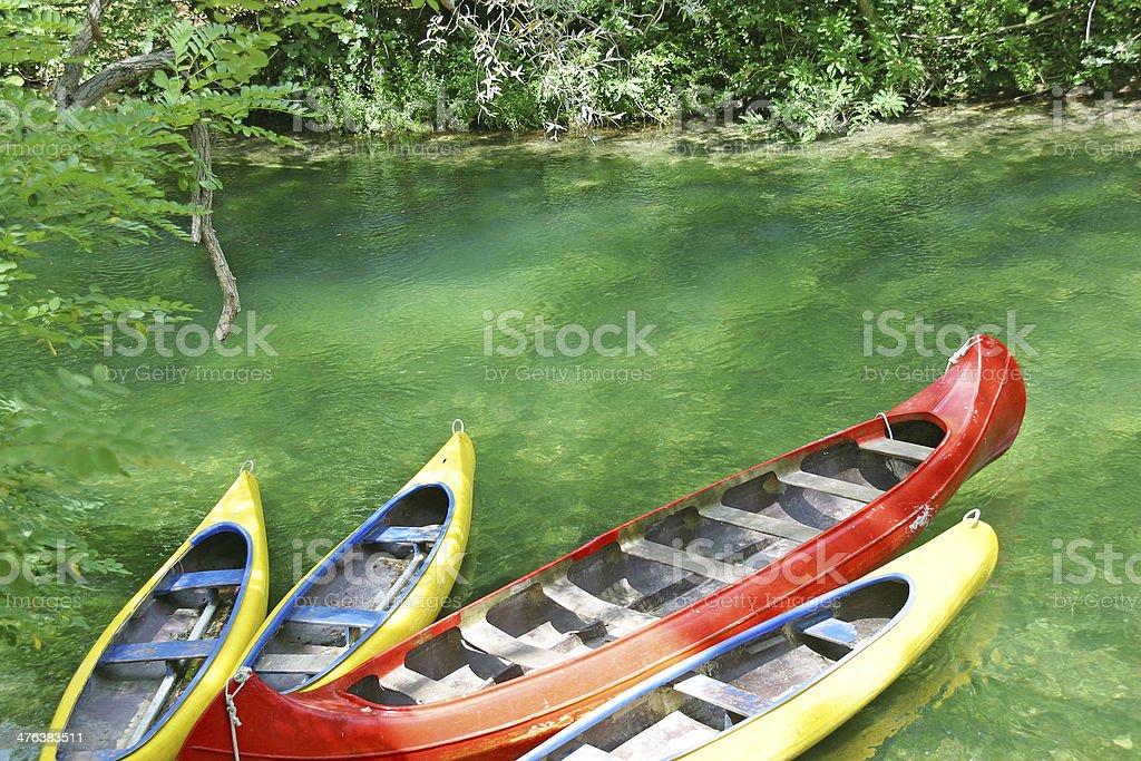Empty canoes royalty-free stock photo