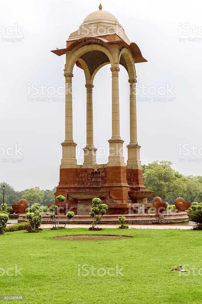Empty canopy of George V at India Gate , New Delhi, stock photo