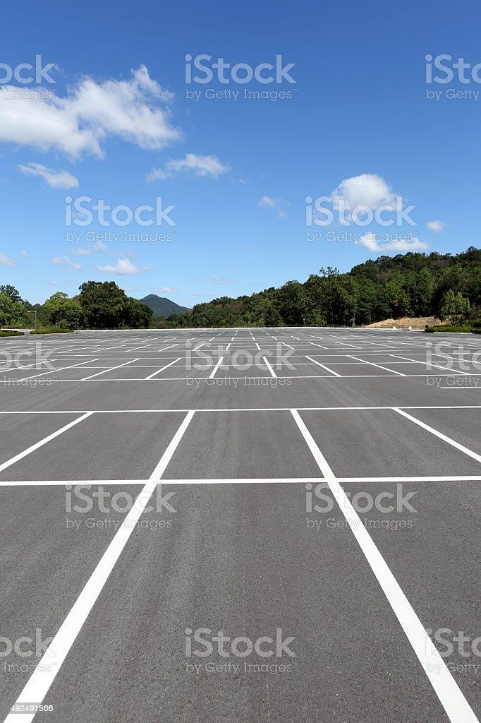 Empty car parking lot stock photo