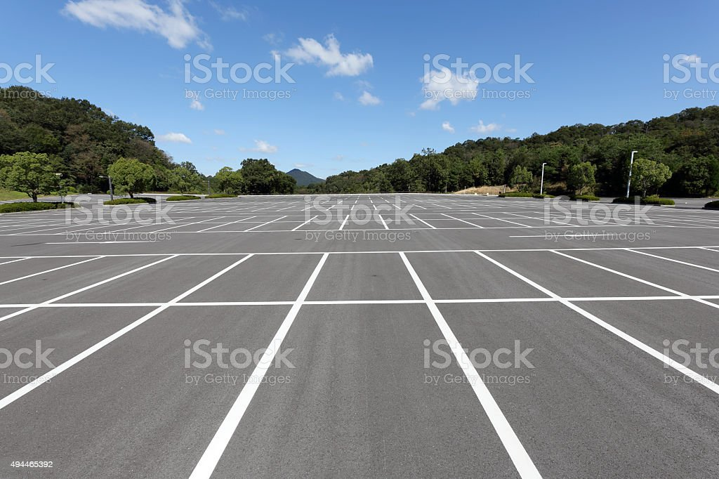 Empty car parking lot stock photo