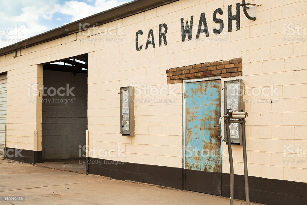 Empty Car Wash Along Route 66, Grunge royalty-free stock photo