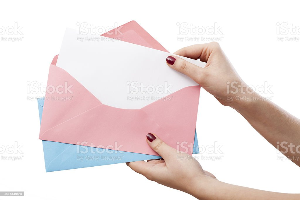 Empty card in envelope royalty-free stock photo
