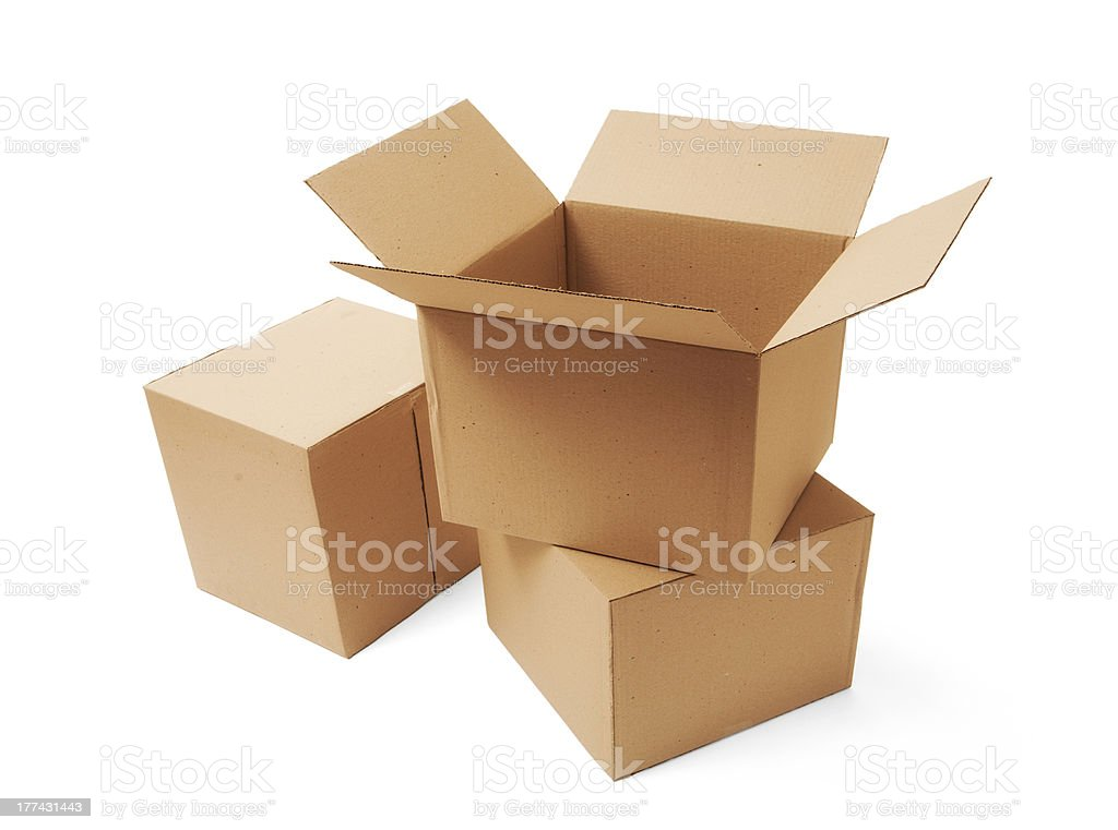 Empty cardboard boxes on white background stock photo