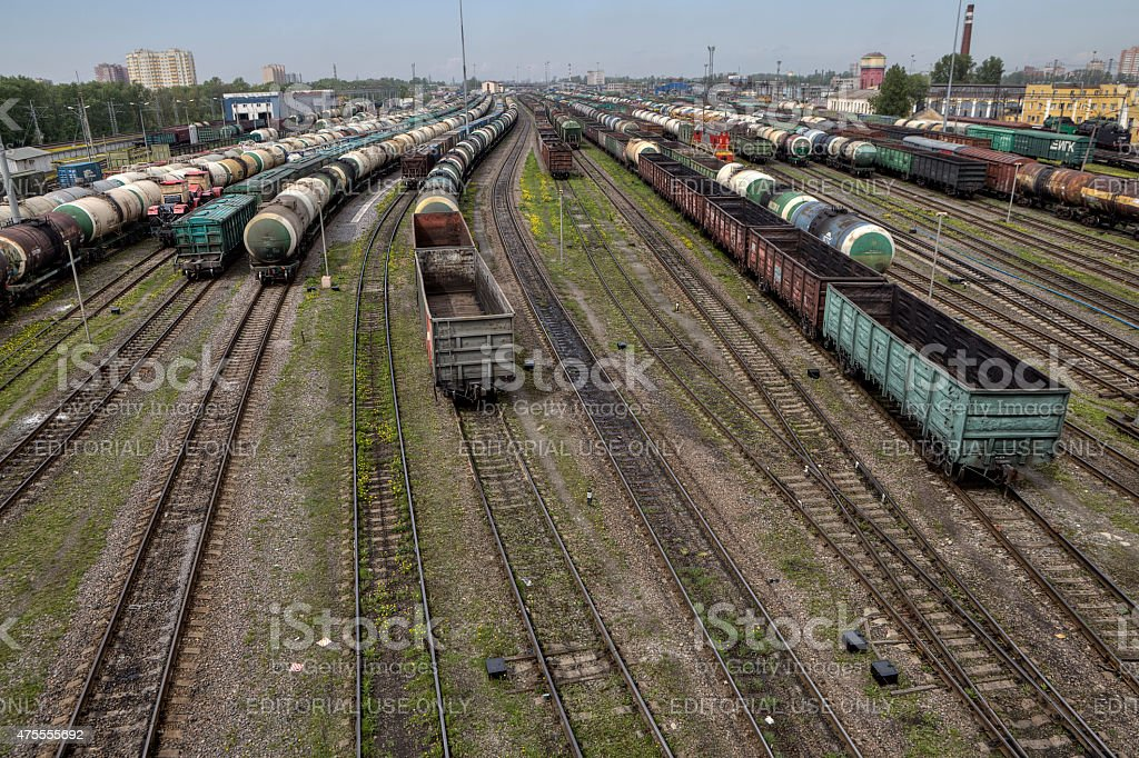 Empty cargo containers on railroad, marshalling yard, Russian Railways. stock photo