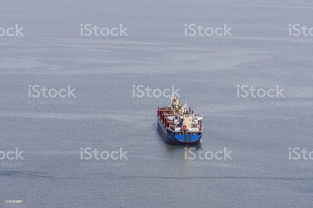 Empty Cargo Ship at Anchor royalty-free stock photo