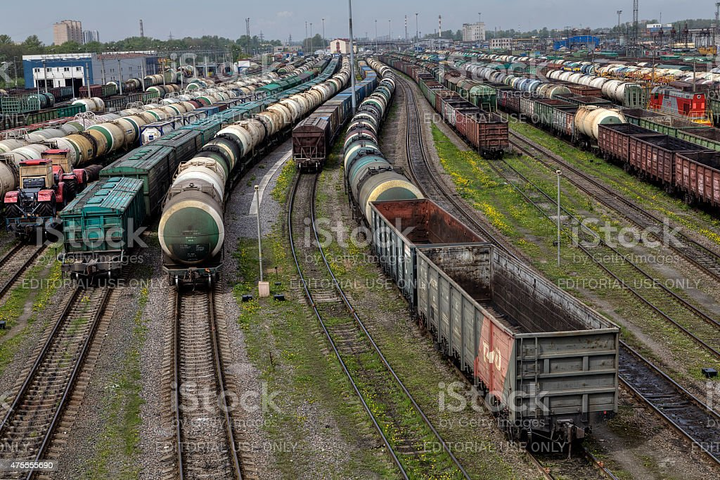 Empty cargo trains and fuel tankers, classification yard, Russia. stock photo