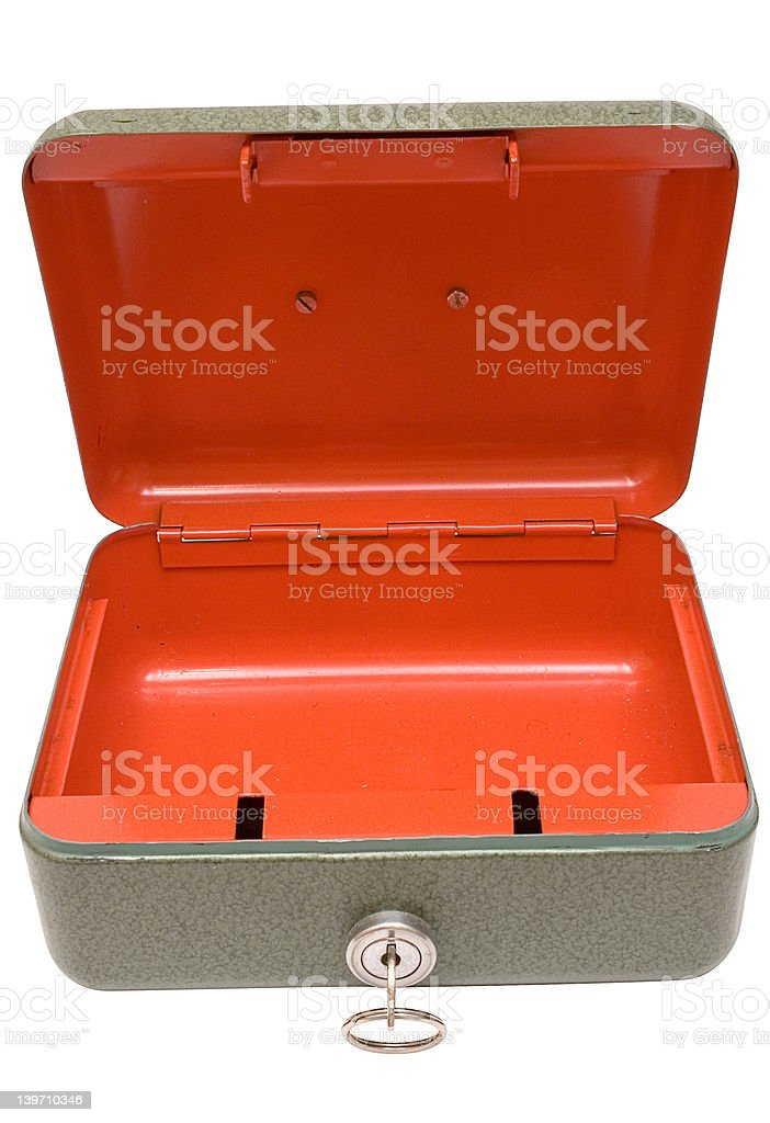 Empty Cash Box w/ Path (Top Front View) royalty-free stock photo