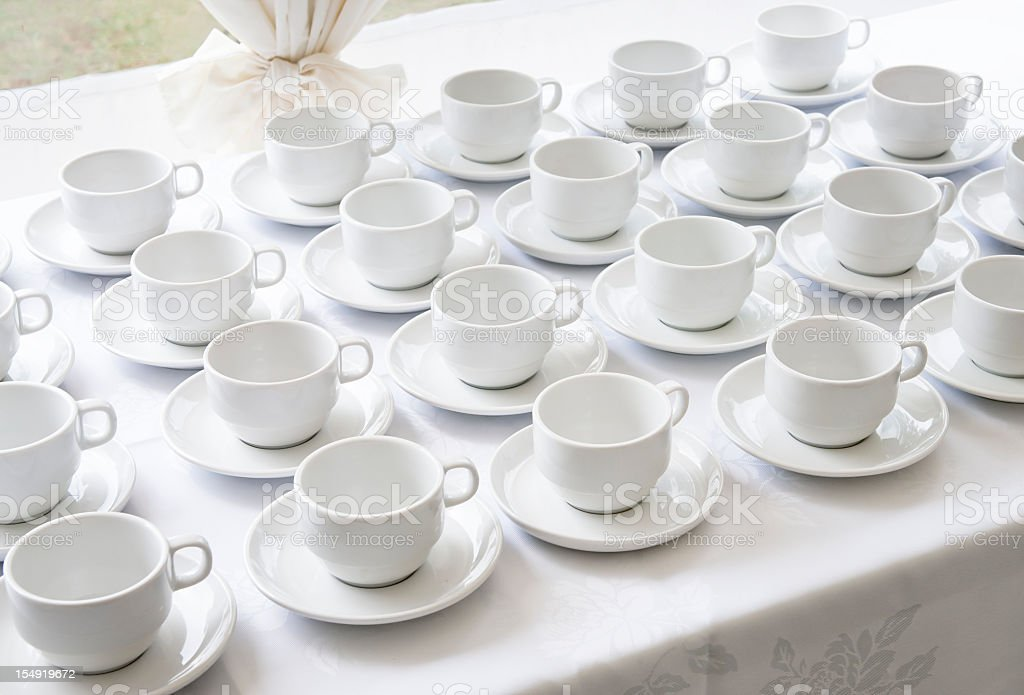 Empty Catering Cups and Saucers royalty-free stock photo