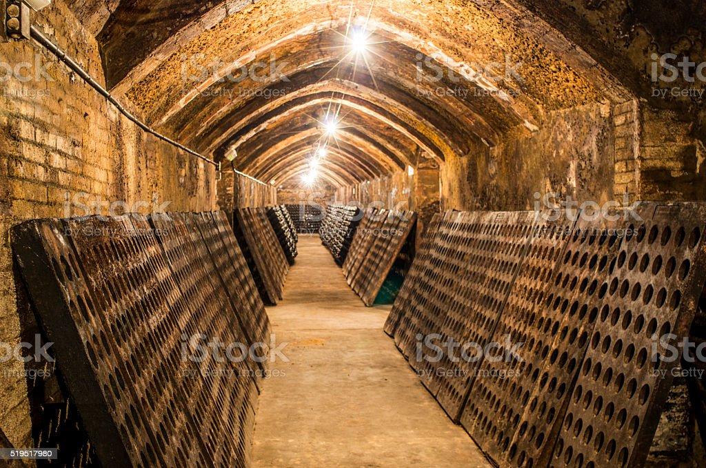 empty cellar bottle wine cava light champagne preparing stock photo