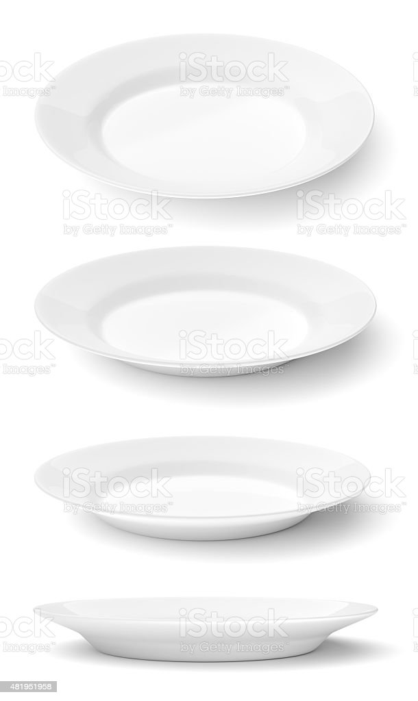 Empty ceramic round plates isolated on white stock photo