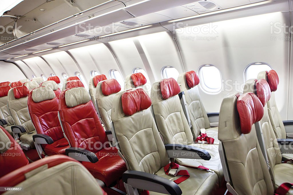 empty chair in airplane royalty-free stock photo