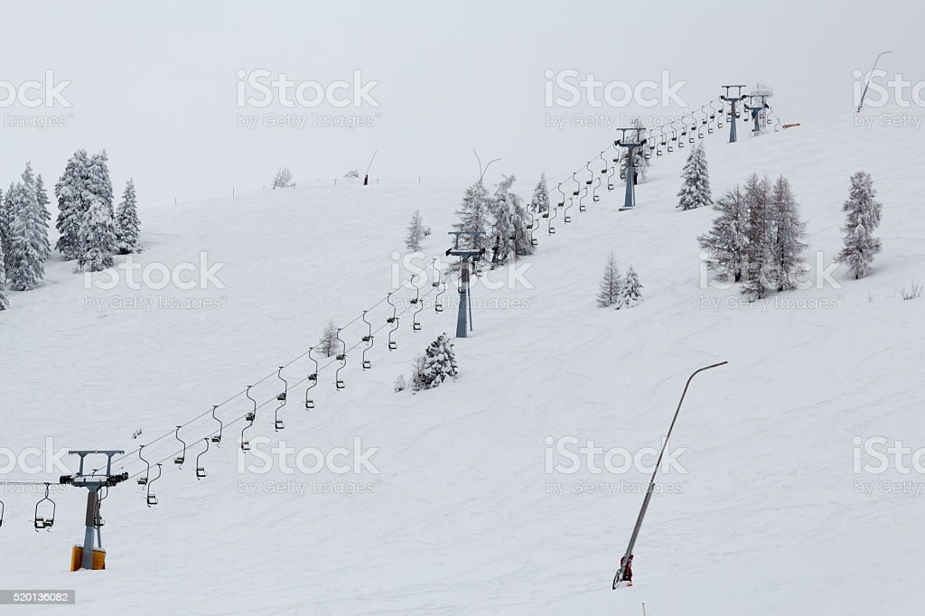 Empty chairlift. stock photo