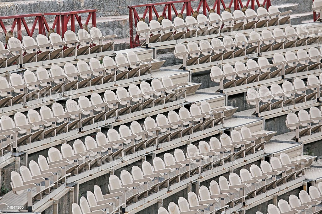 empty chairs before the musical concert stock photo