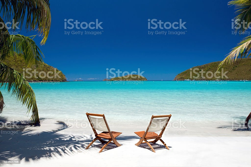 Empty chairs between palm trees at the Virgin Island's beach stock photo