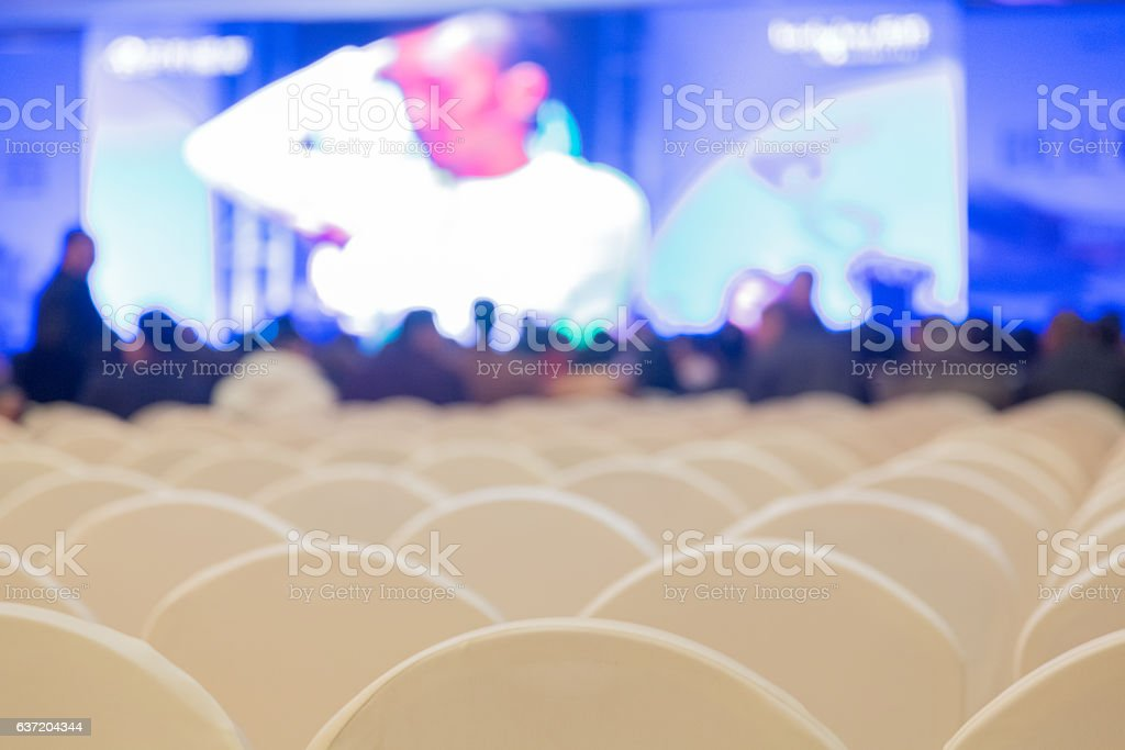 empty chairs in an auditorium stock photo