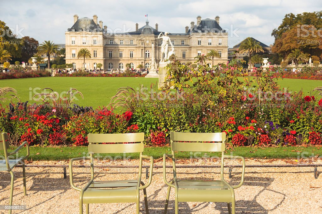 Empty chairs in Luxemburg Gardens, Paris (Paris, France) stock photo