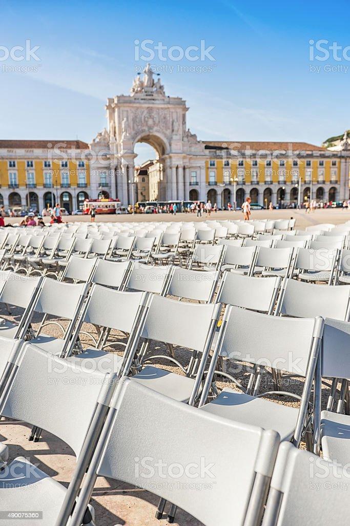Empty Chairs in Praca Do Comercio, Lisbon stock photo