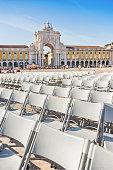 Empty Chairs in Praca Do Comercio, Lisbon
