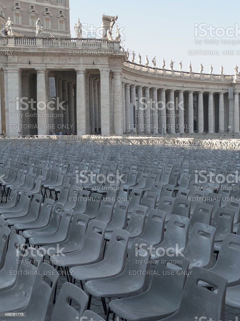 Empty chairs in St Peter square, Vatican City, Rome stock photo