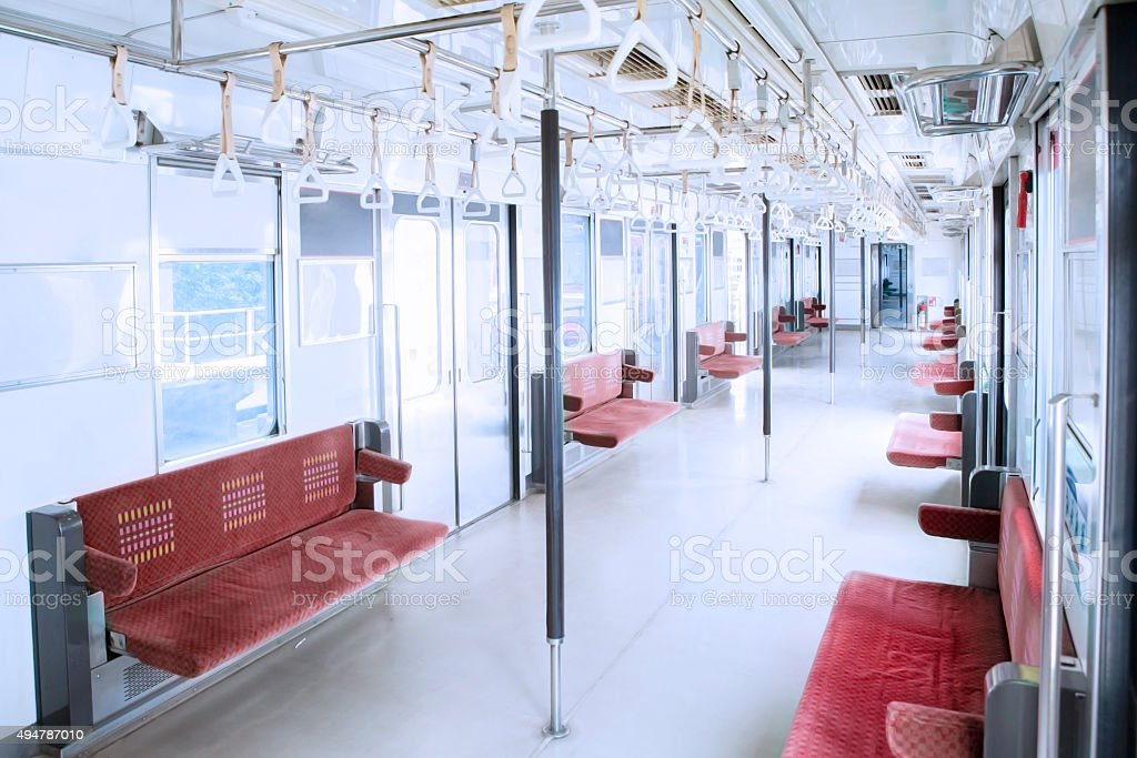 Empty chairs in the commuter trains stock photo