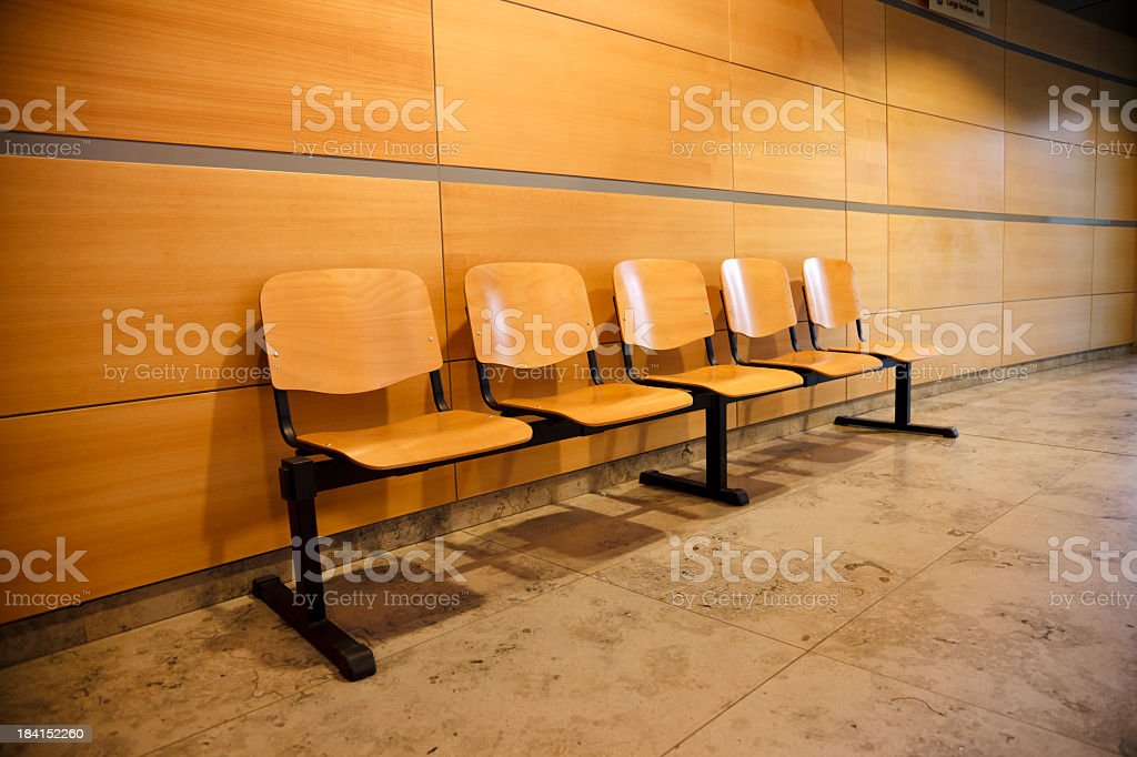 Empty chairs in waiting room stock photo