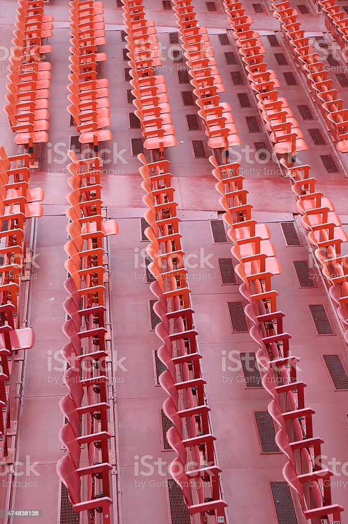 empty chairs of iron before the musical concert stock photo