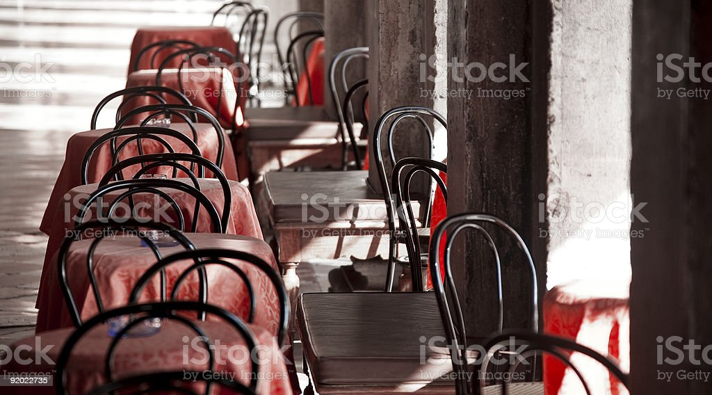 Empty Chairs on Walkway royalty-free stock photo