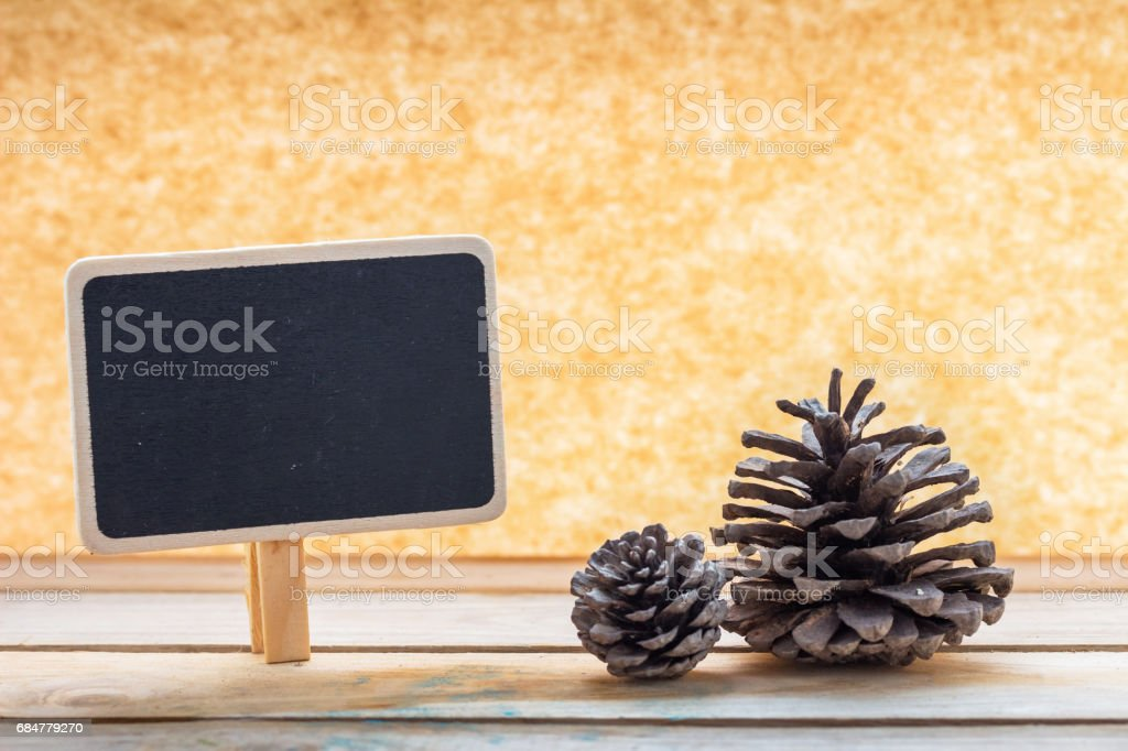 empty chalkboard and pine stock photo