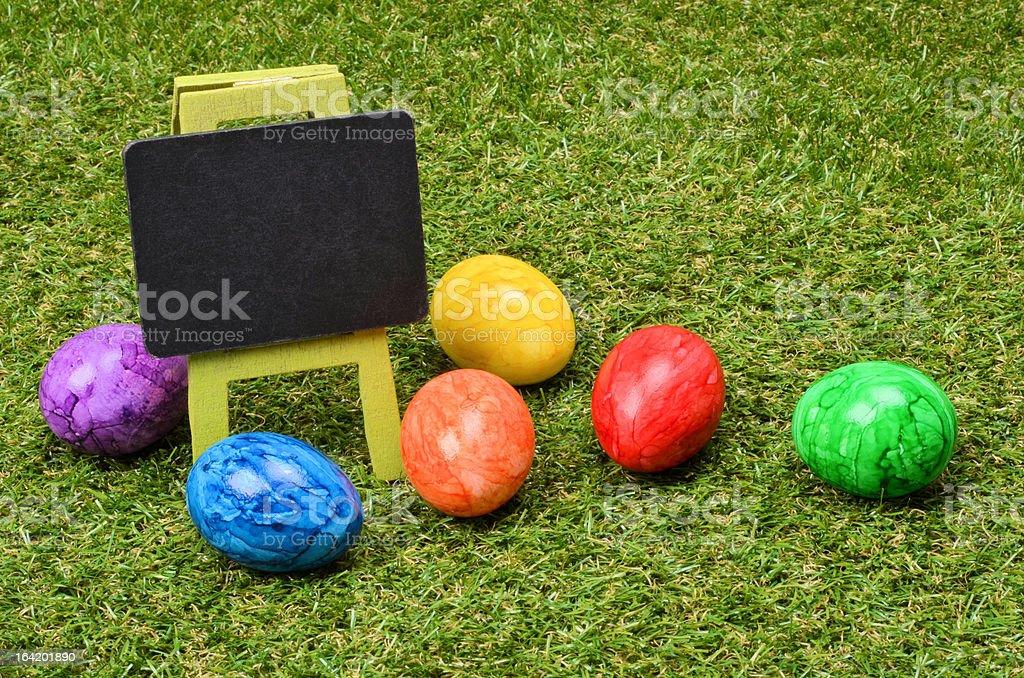 Empty chalkboard on grass stock photo