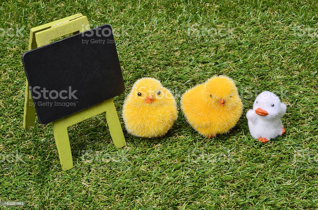 Empty chalkboard on grass stock photo