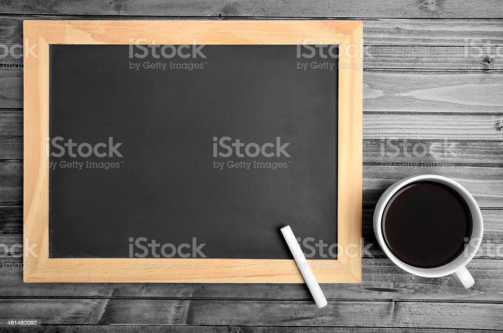 Empty chalkboard with coffee stock photo