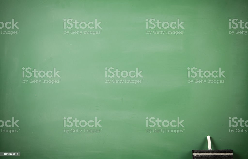 Empty chalkboard with eraser and chalk royalty-free stock photo