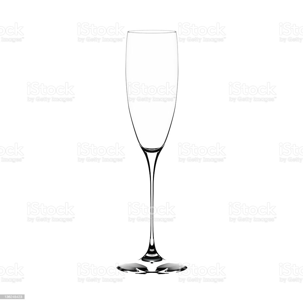 Empty champagne glass against white background stock photo