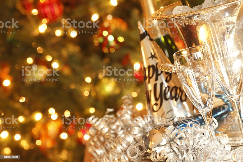 Empty Champagne Glasses royalty-free stock photo