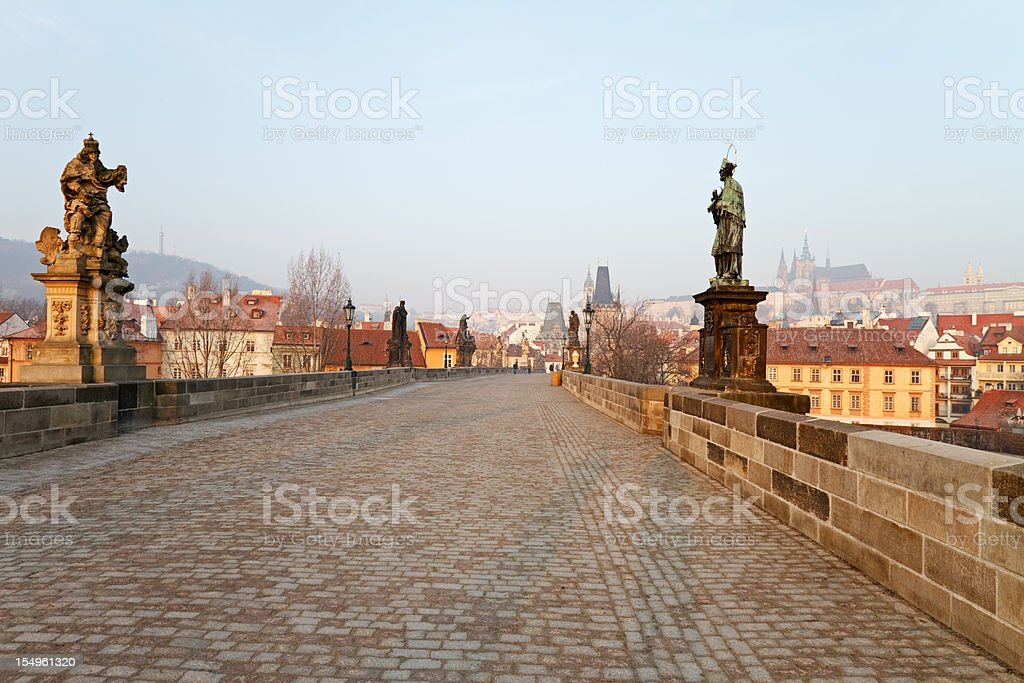 Empty Charles Bridge, Prague royalty-free stock photo