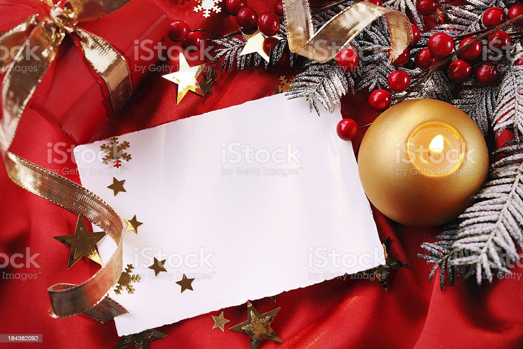 Empty christmas card with decoration royalty-free stock photo