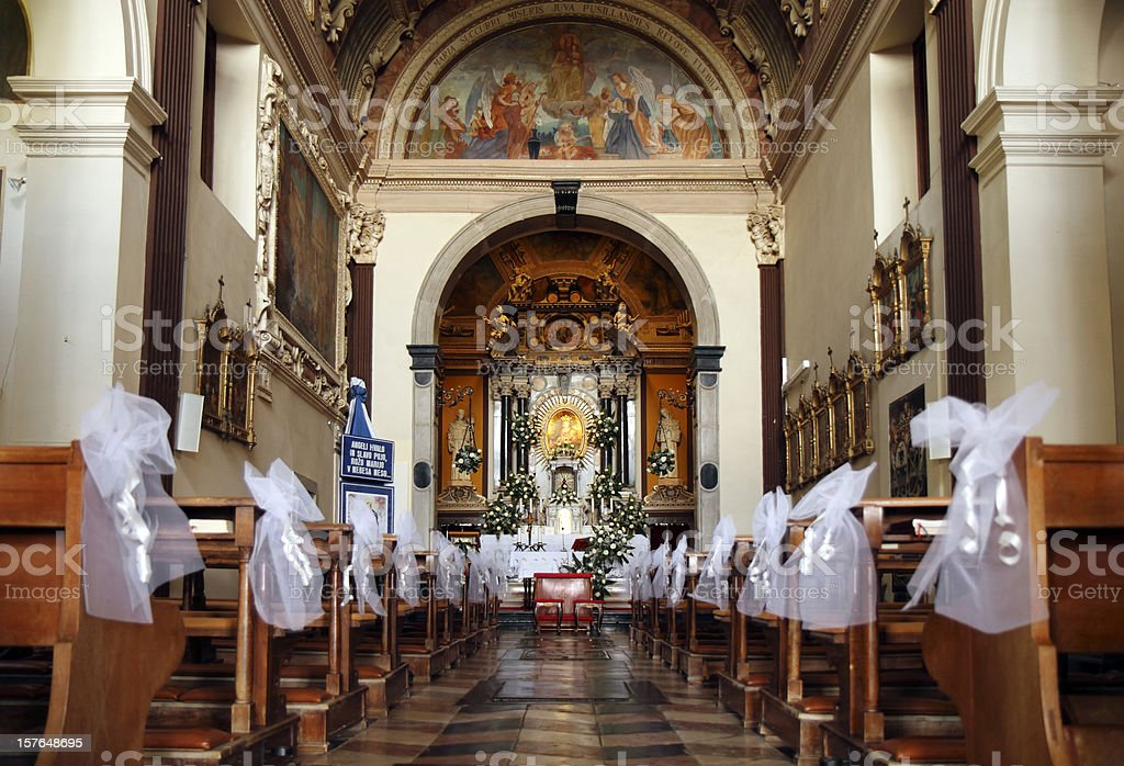 Empty church decorated for wedding royalty-free stock photo
