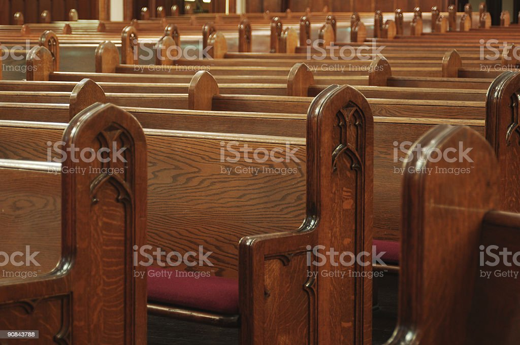 empty church pews stock photo