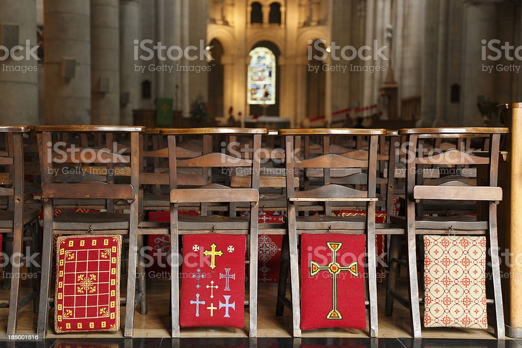 Empty church seats in cathedral stock photo