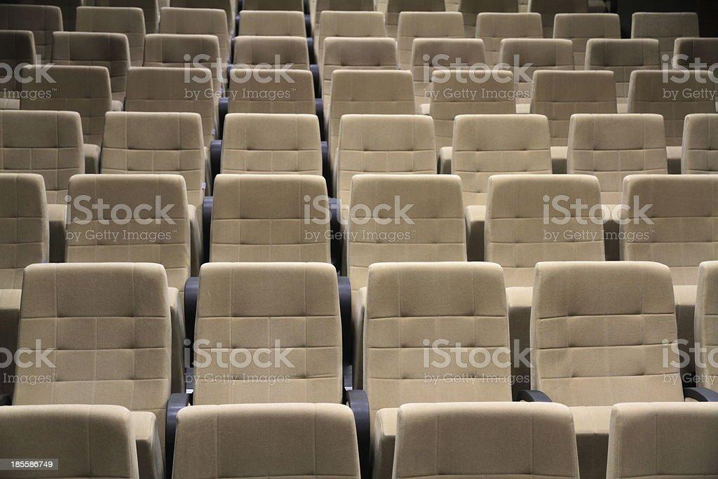 Empty cinema or theater seats. stock photo