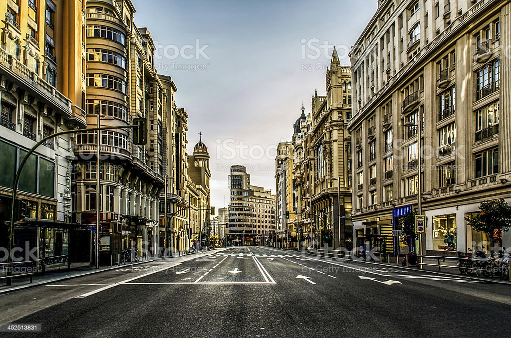 empty city street gran via Madrid Spain no car people stock photo