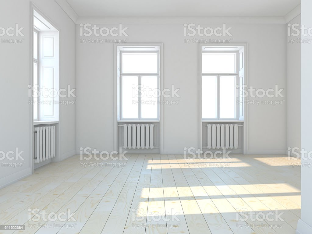 Empty classic white  room with windows. 3D illustration stock photo