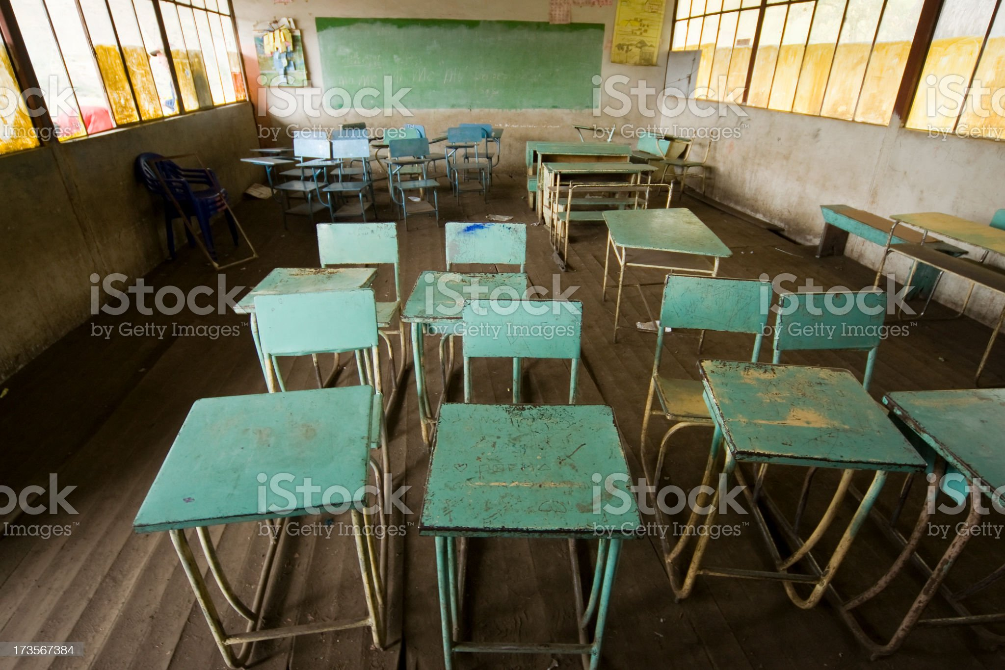 Empty classroom in Ecuador royalty-free stock photo