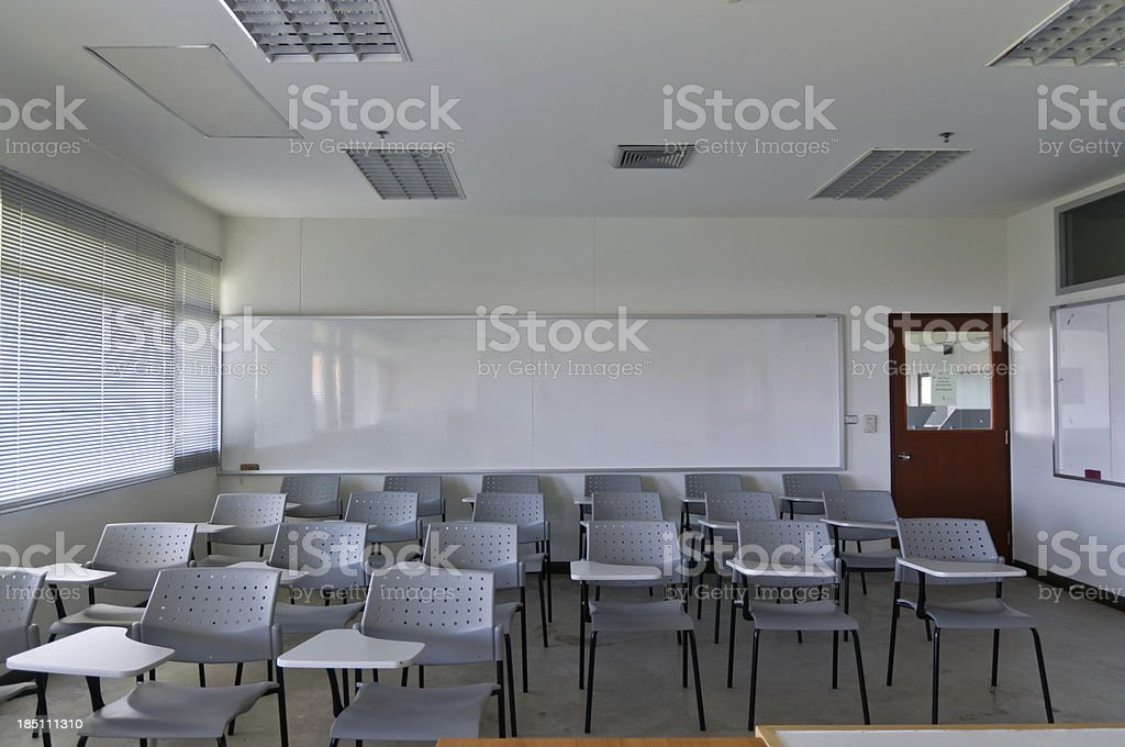 Empty classroom with chair and board royalty-free stock photo