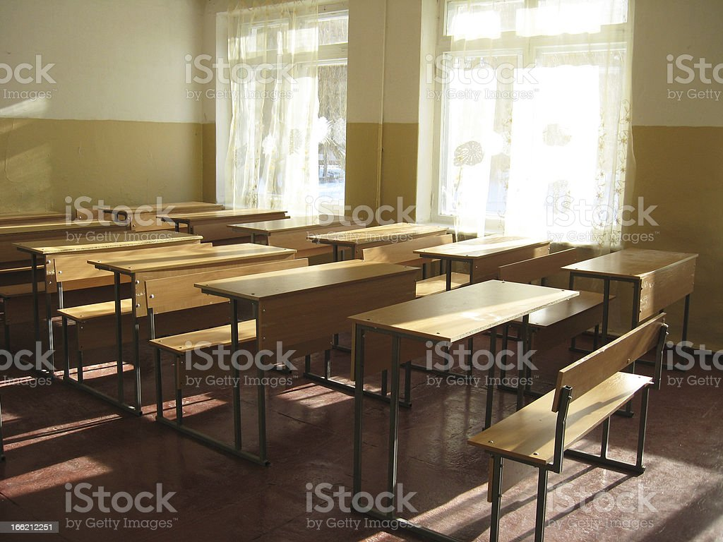 empty classroom with desks royalty-free stock photo