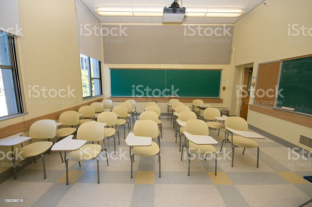 Empty Classrooms in college stock photo