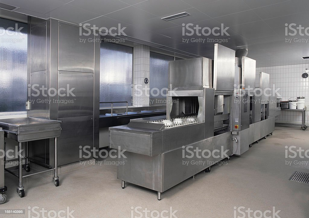 Empty clean industrial kitchen dishwasher royalty-free stock photo