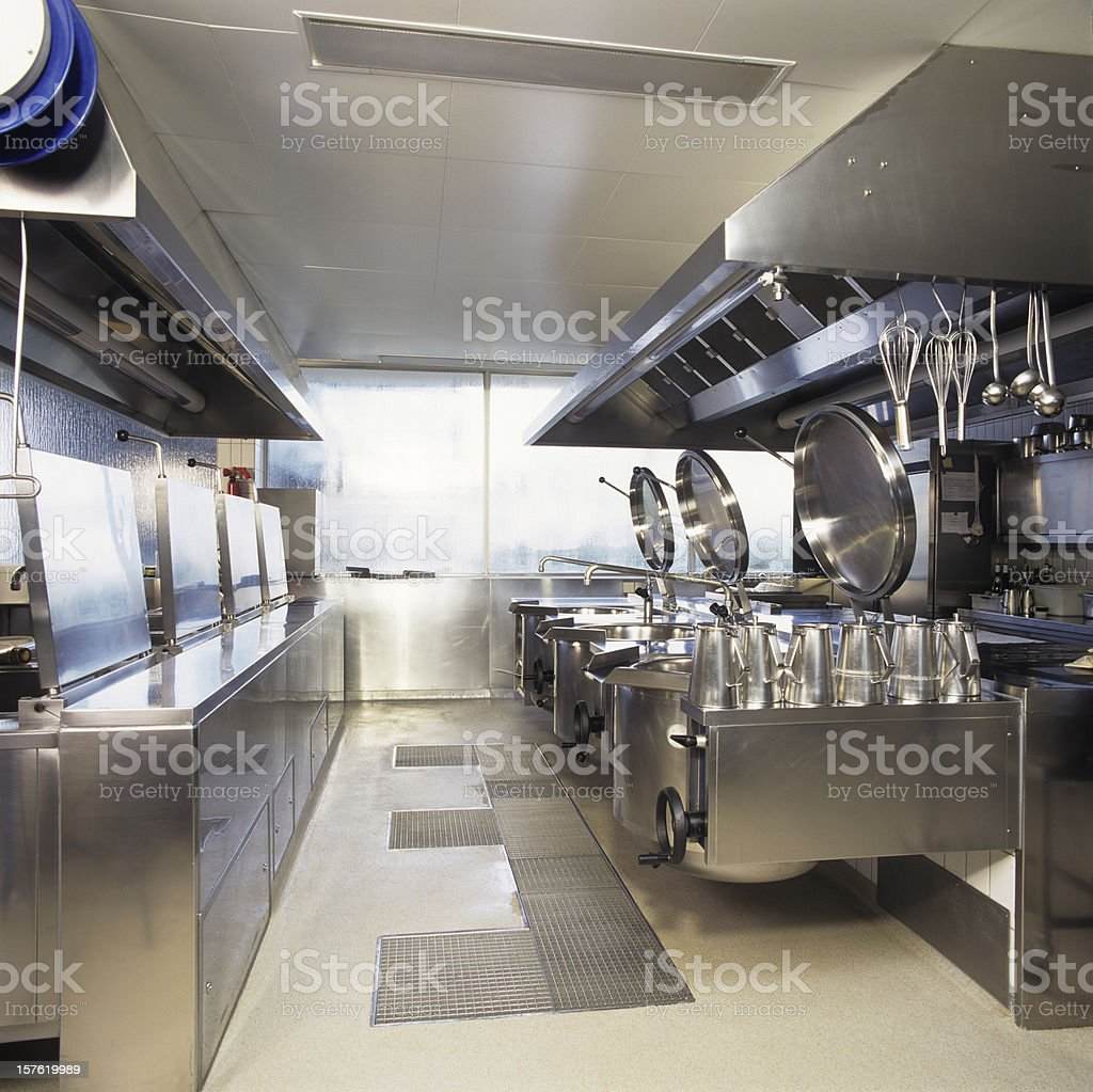 Empty clean industrial kitchen stock photo
