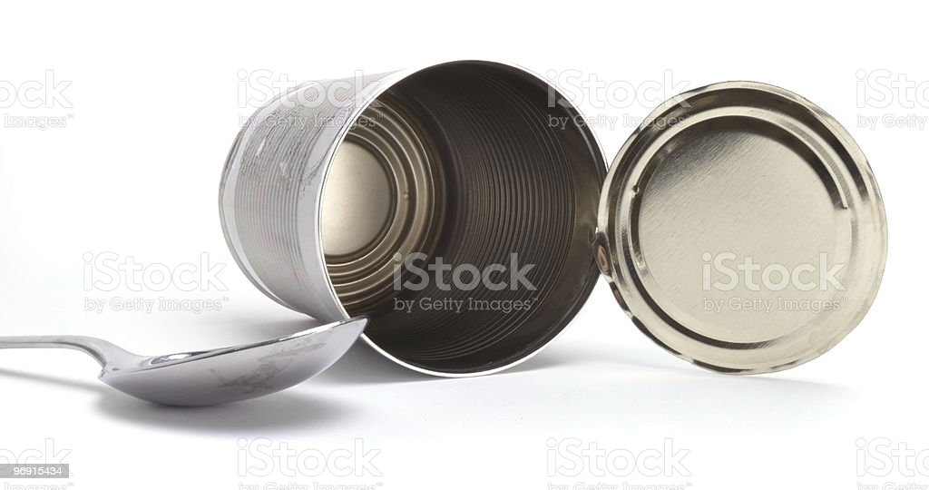 Empty Clean Tin Can stock photo