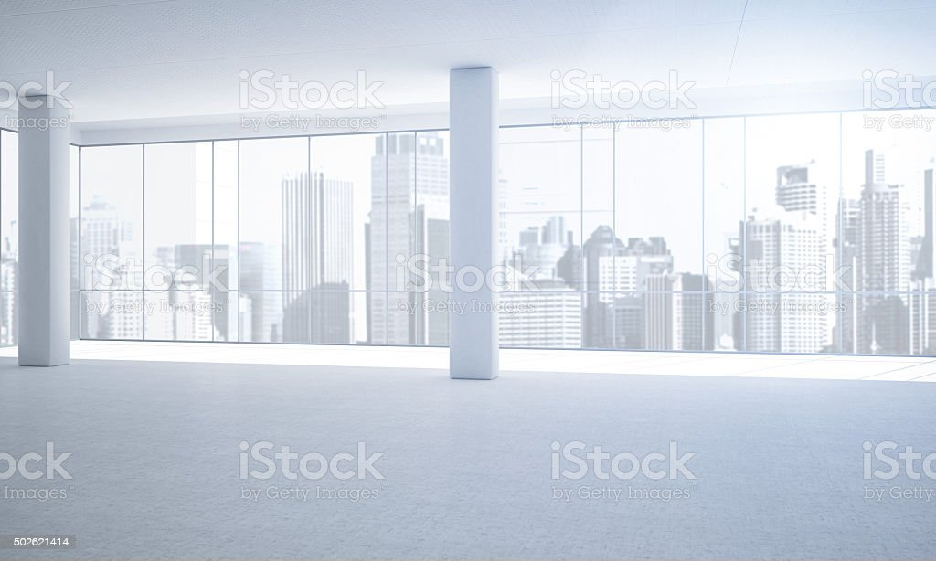 Empty Clean white office with a view stock photo
